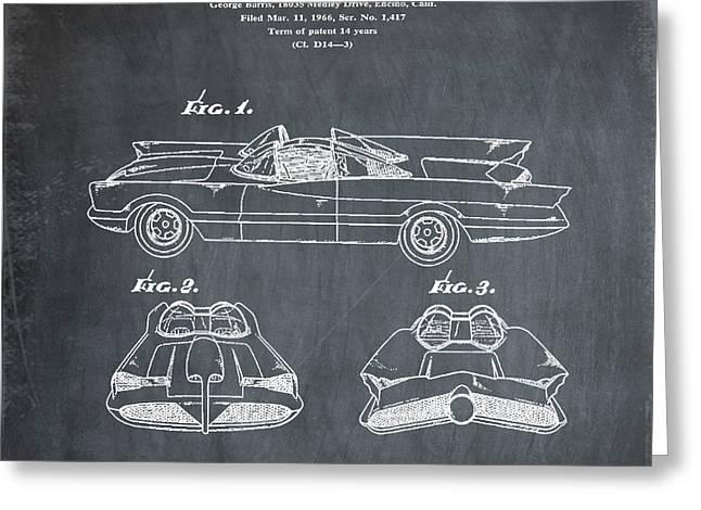 Batmobile Patent 1966 In Chalk Greeting Card
