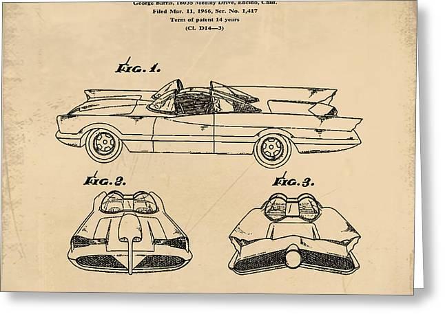 Batmobile Patent 1966 In Sepia Greeting Card