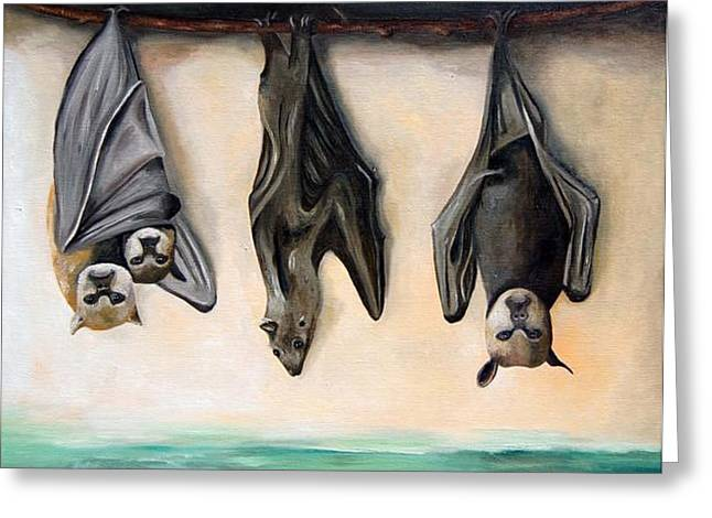 Bats Greeting Card by Leah Saulnier The Painting Maniac