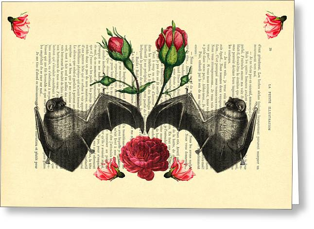 Bats With Angelic Roses Greeting Card