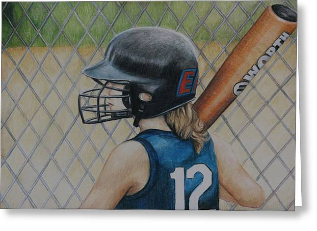 Softball Paintings Greeting Cards - Batter Up Greeting Card by Charlotte Yealey