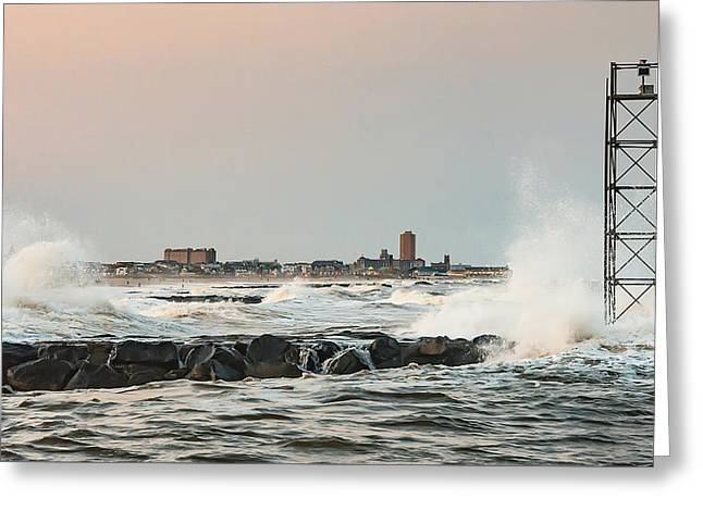 Battering The Shark River Inlet Greeting Card