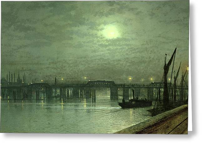 Grimshaw; John Atkinson (1836-93) Greeting Cards - Battersea Bridge by Moonlight Greeting Card by John Atkinson Grimshaw