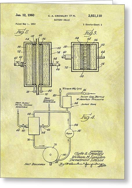 Battery Cell Patent Greeting Card by Dan Sproul