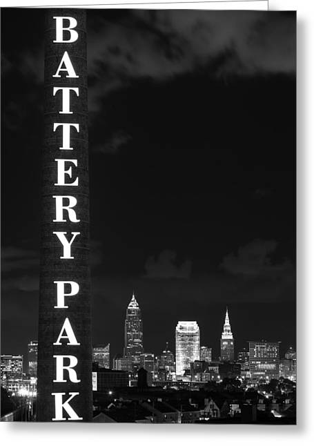 Battery Park Cleveland Skyline Greeting Card