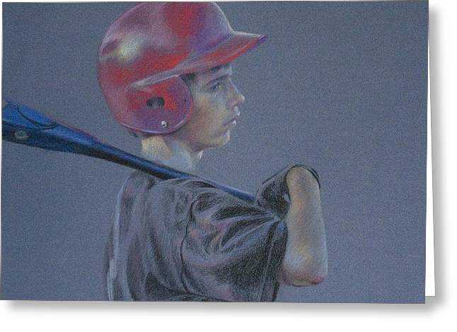 Batting Helmet Greeting Cards - Batting Helmet Greeting Card by Linda Eades Blackburn