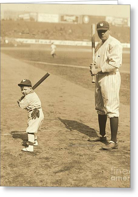 Batting With The Babe Greeting Card