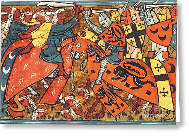 Battle Between Crusaders And Muslims Greeting Card by French School