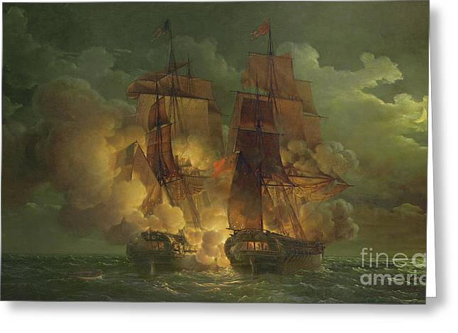 Battle Between The Arethuse And The Amelia Greeting Card by Louis Philippe Crepin
