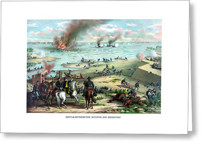 Battle Between The Monitor And Merrimac Greeting Card by War Is Hell Store