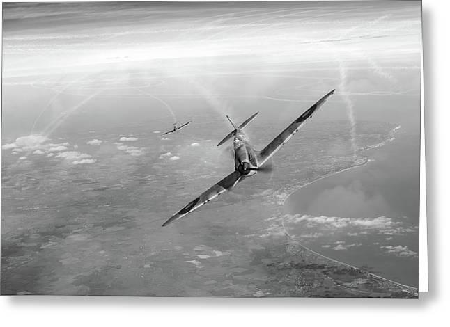Battle Of Britain Spitfires Over Kent Greeting Card by Gary Eason