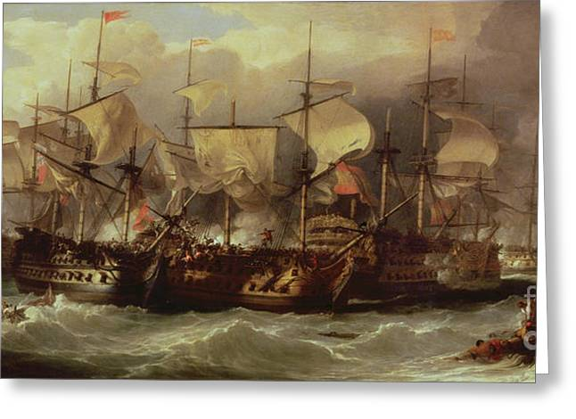 Williams Greeting Cards - Battle of Cape St Vincent Greeting Card by Sir William Allan