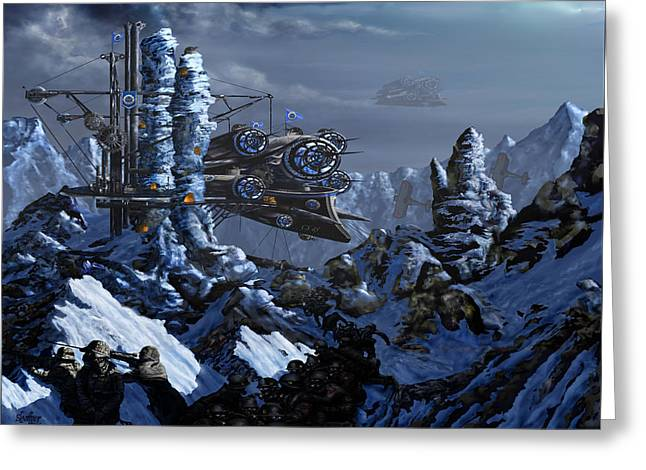 Greeting Card featuring the digital art Battle Of Eagle's Peak by Curtiss Shaffer