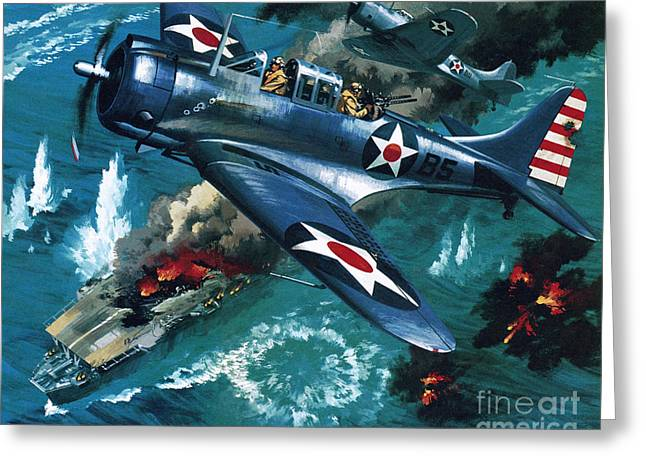 Battle Of Midway Greeting Card by Wilf Hardy