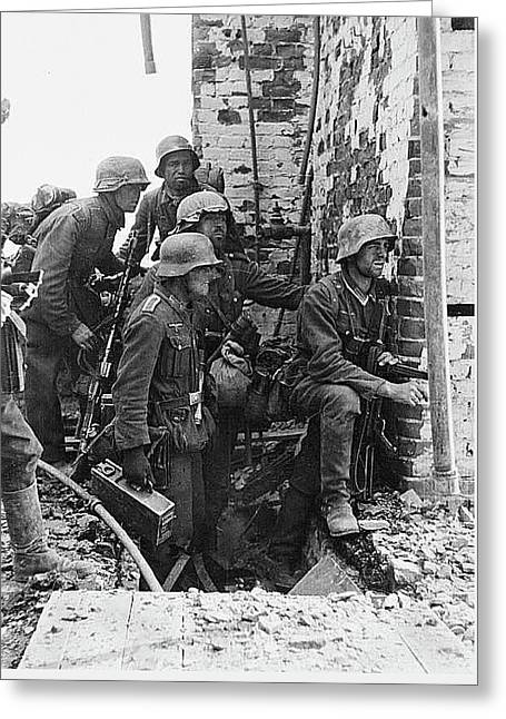 Battle Of Stalingrad  Nazi Infantry Street Fighting 1942 Greeting Card