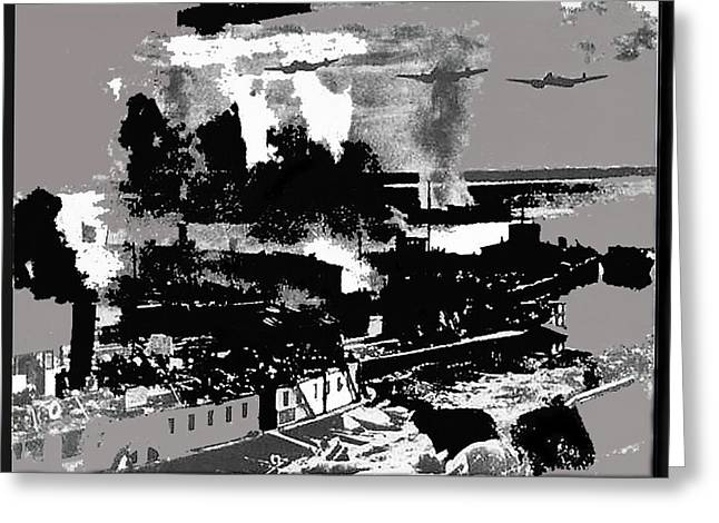 Battle Of Stalingrad Nazi Plane Crossing Volga River 1942 Greeting Card by David Lee Guss