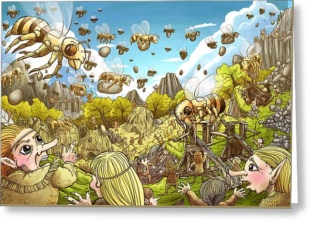 Battle Of The Bees Greeting Card by Reynold Jay