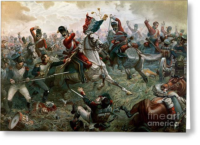 Fighting Greeting Cards - Battle of Waterloo Greeting Card by William Holmes Sullivan