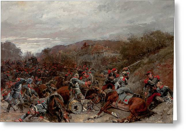 Battle Scene From The Franco-prussian War Greeting Card