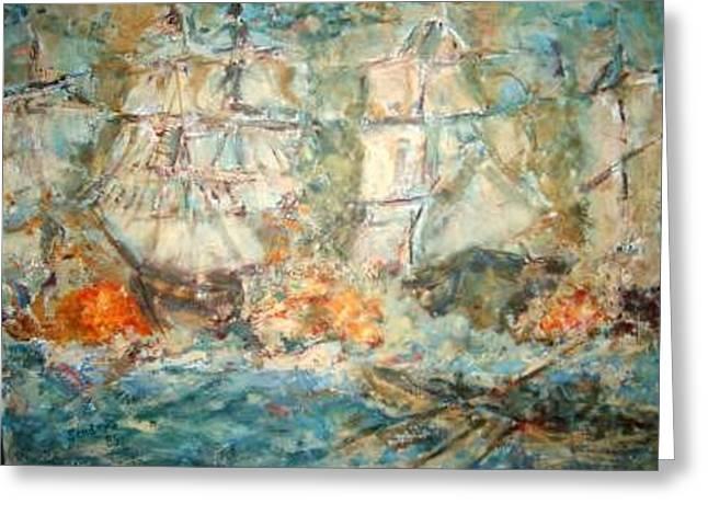 Battle Ships Greeting Card by Joseph Sandora Jr