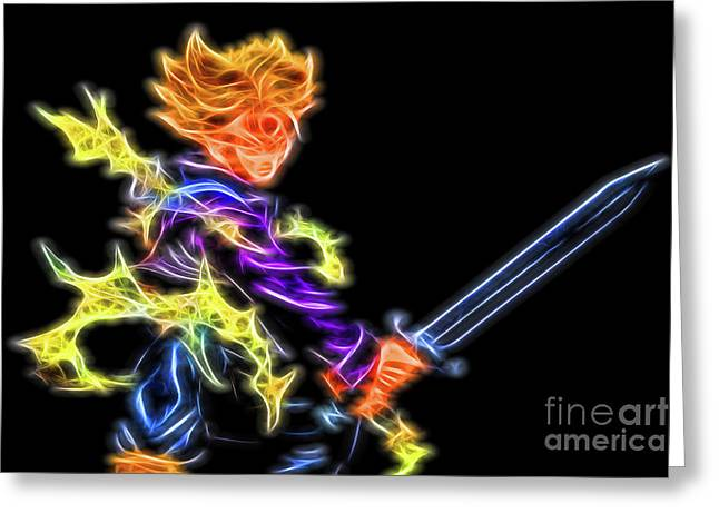 Greeting Card featuring the digital art Battle Stance Trunks by Ray Shiu