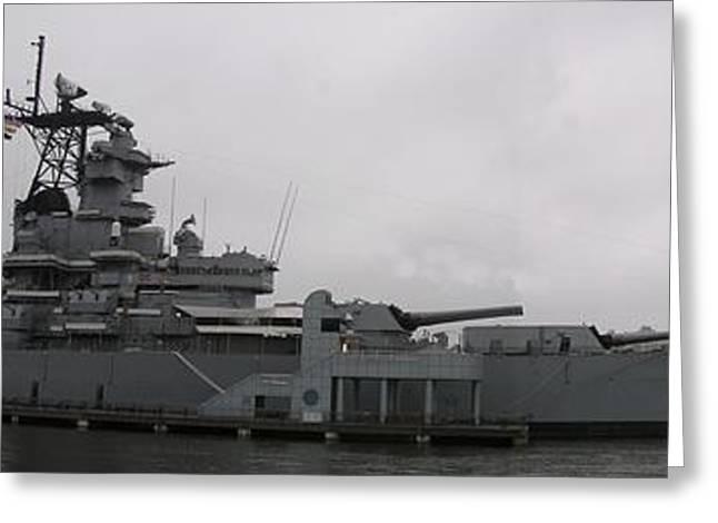 16 Inch Guns Greeting Cards - Battleship NJ Panoramic Greeting Card by Sven Migot