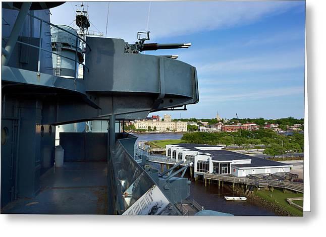 Battleship View Of Wilmington Nc Greeting Card