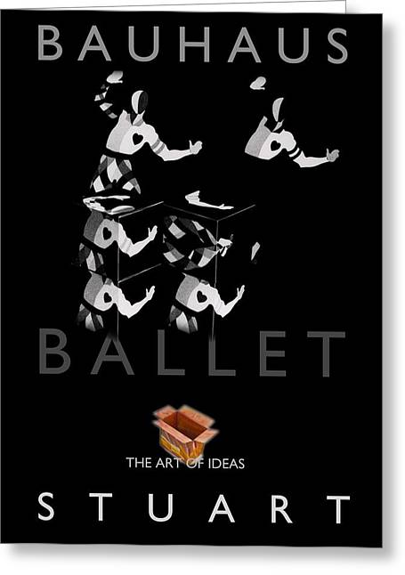 Bauhaus Ballet Black Greeting Card by Charles Stuart