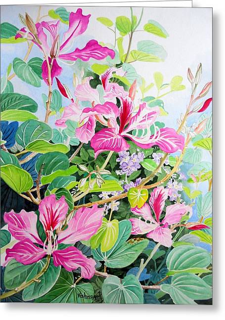 Bauhinia And Duranta Greeting Card by Vishwajyoti Mohrhoff