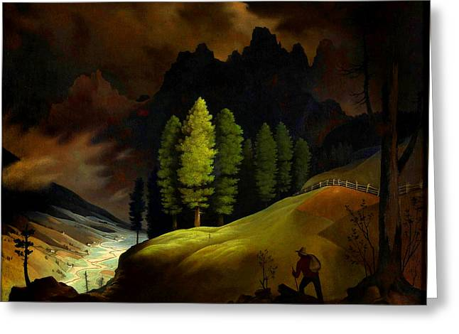 Bavarian Landscape Greeting Card by Franz Sedlacek
