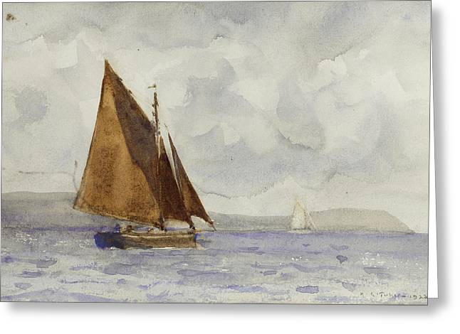 Greeting Card featuring the painting Bawley Running Up The Coast by Henry Scott Tuke