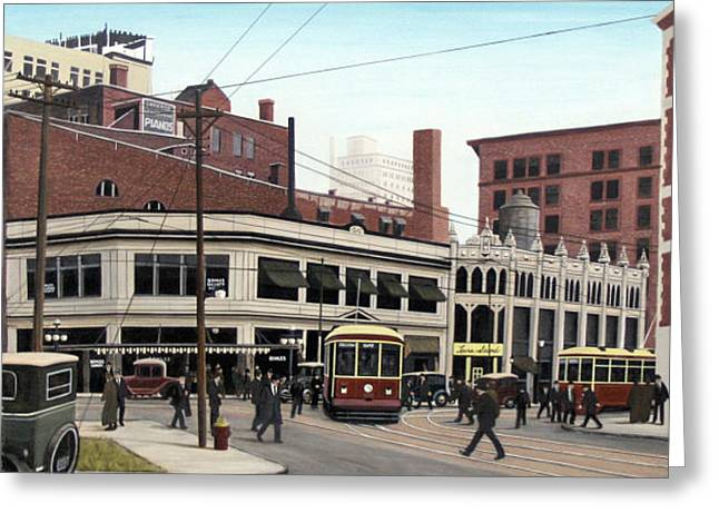 Greeting Card featuring the painting Bay And Queen Streets C1940 by Kenneth M Kirsch