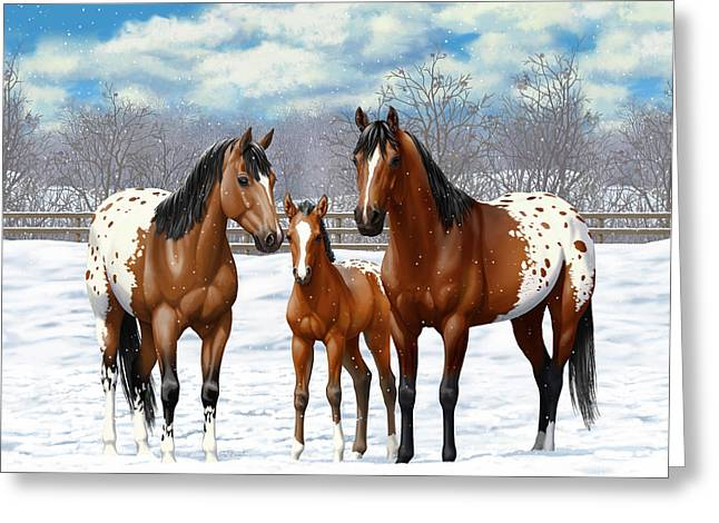 Greeting Card featuring the painting Bay Appaloosa Horses In Winter Pasture by Crista Forest
