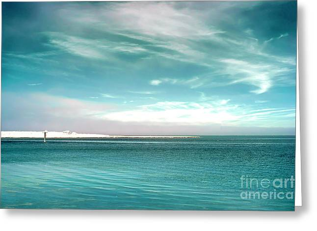 Bay Blues Infrared Greeting Card by John Rizzuto