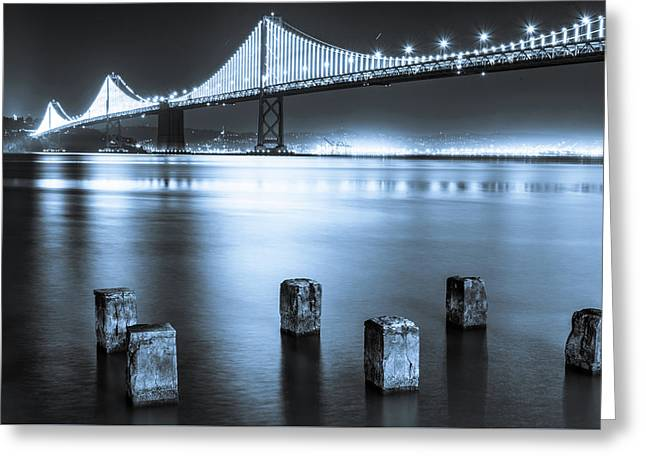 Bay Bridge 1 In Blue Greeting Card