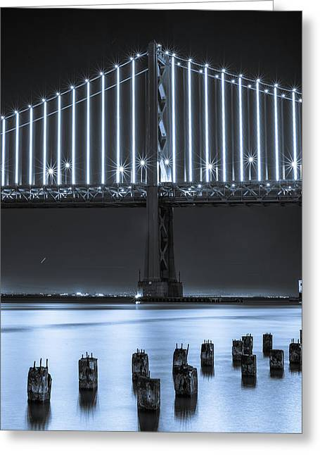 Bay Bridge 2 In Blue Greeting Card