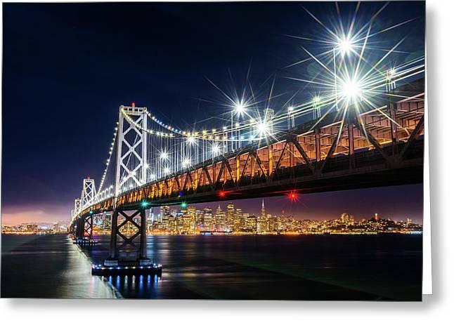 Bay Bridge And San Francisco By Night 5 Greeting Card