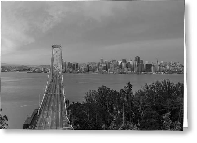 Bay Bridge And San Fransico Black And White  Greeting Card
