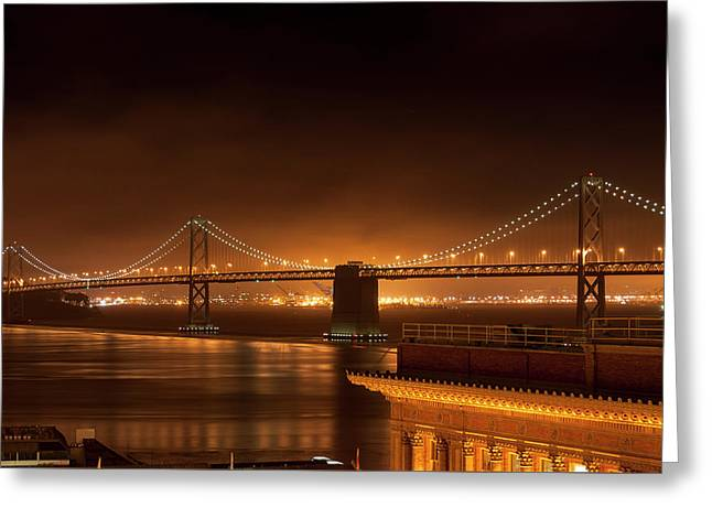 Bay Bridge At Night Greeting Card