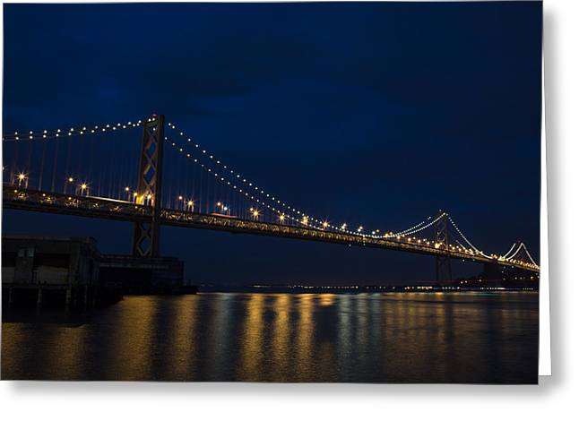 Bay Bridge At Night Greeting Card by John Daly