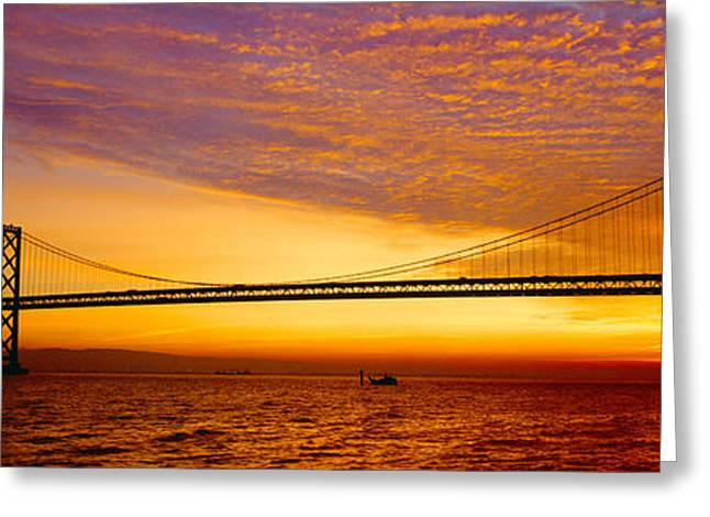 Bay Bridge At Sunrise, San Francisco Greeting Card by Panoramic Images