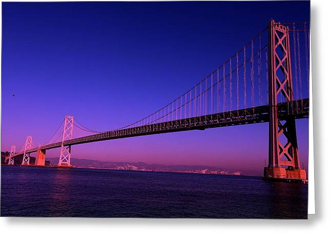 Greeting Card featuring the photograph Bay Bridge Sunset by Linda Edgecomb