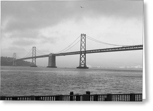 Foggy Ocean Greeting Cards - Bay Bridge Greeting Card by Thomas Beam