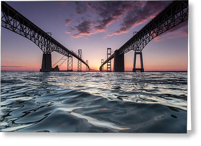 Bay Bridge Twilight Greeting Card by Jennifer Casey