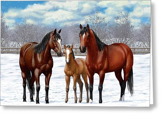 Greeting Card featuring the painting Bay Horses In Winter Pasture by Crista Forest