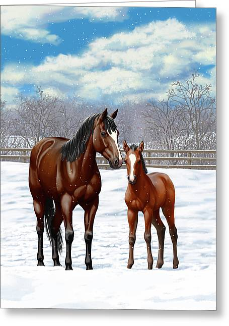 Bay Mare And Foal In Winter Greeting Card