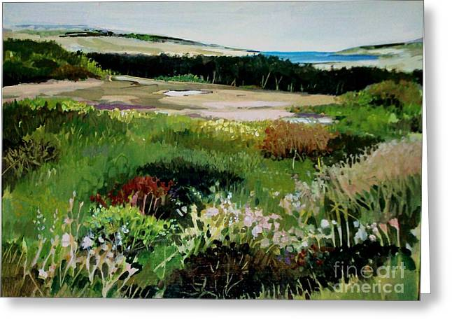 Greeting Card featuring the painting Bay Meadow by Diane Ursin