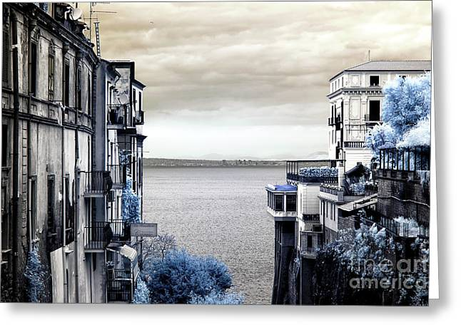 Bay Of Naples View Infrared Greeting Card