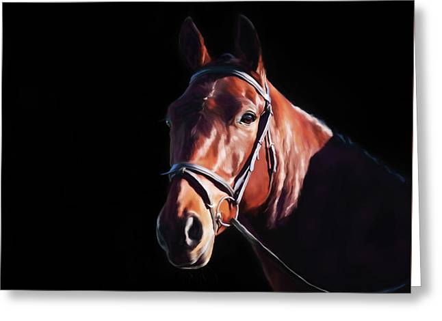 Bay On Black - Horse Art By Michelle Wrighton Greeting Card by Michelle Wrighton