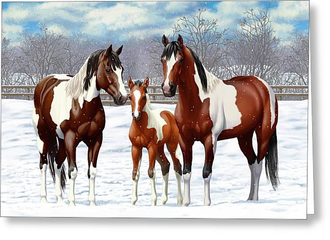 Bay Paint Horses In Winter Greeting Card by Crista Forest